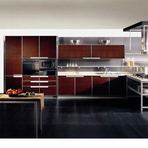China Kitchen Cabinet 18mm Black Walnut Veneer At 2 Sides