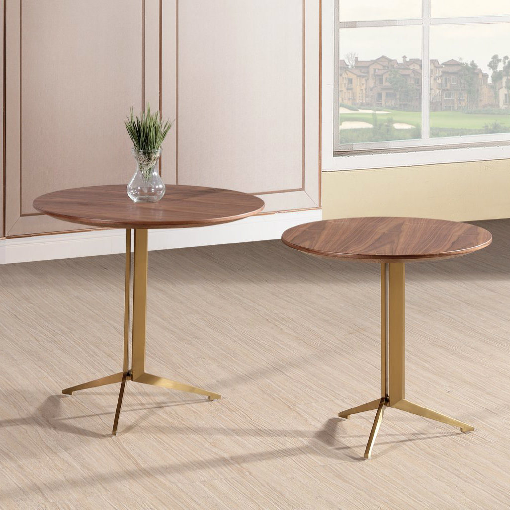 Hot Item Gold Finish Wood Top Side Table Set Nesting Coffee Table