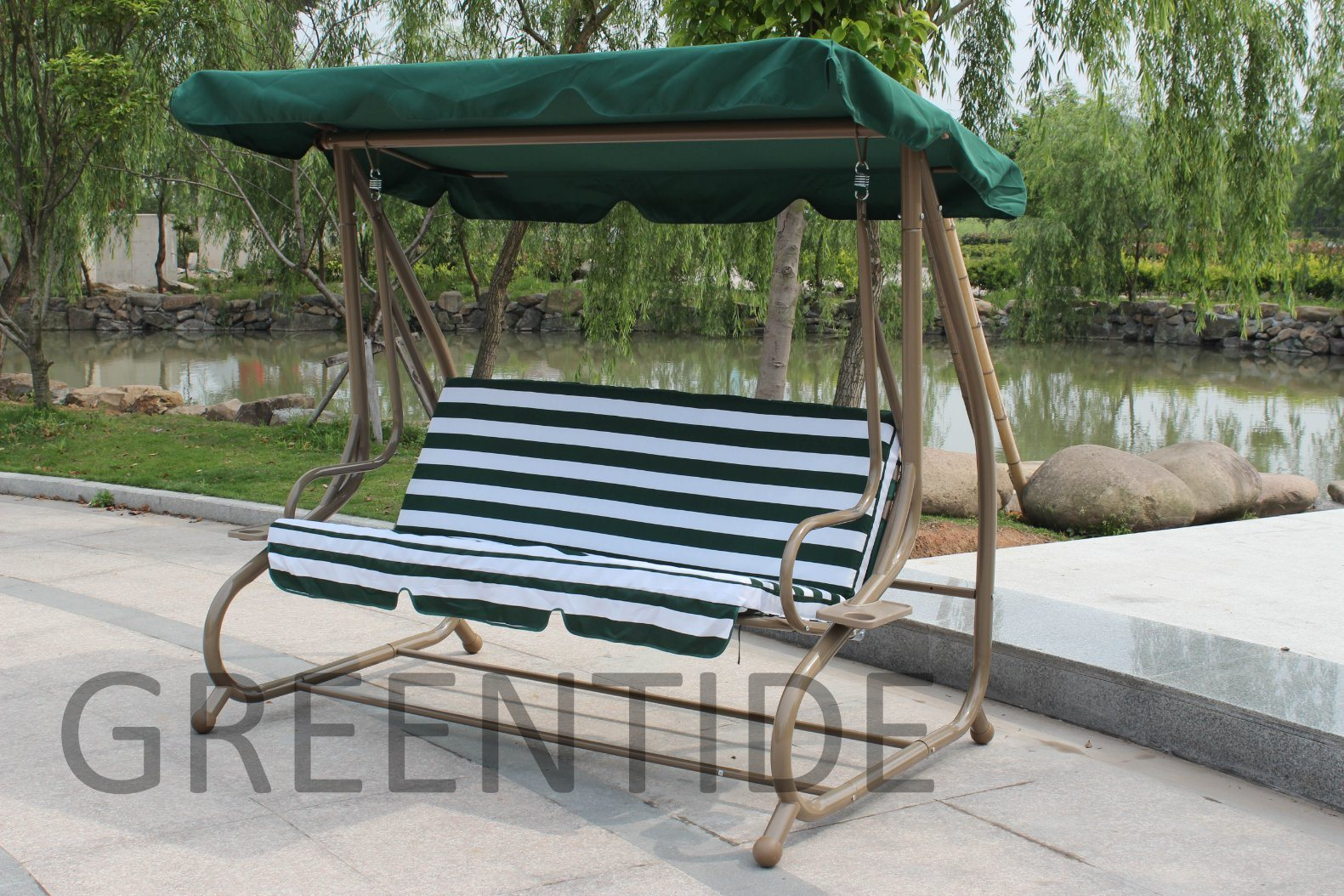 Outdoor Steel Garden Furniture Patio Swing Chair with Side Table