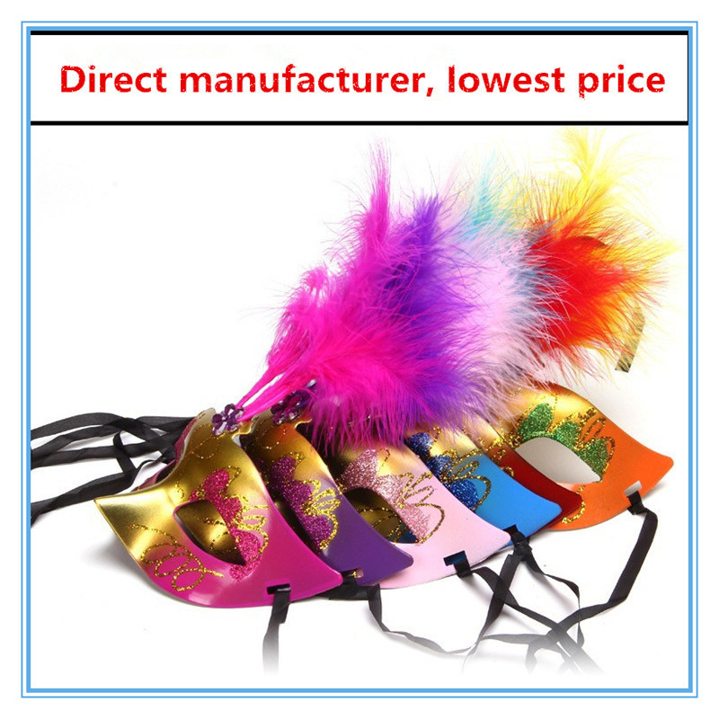 Halloween Luminous Mask Costume Feather Party Mask