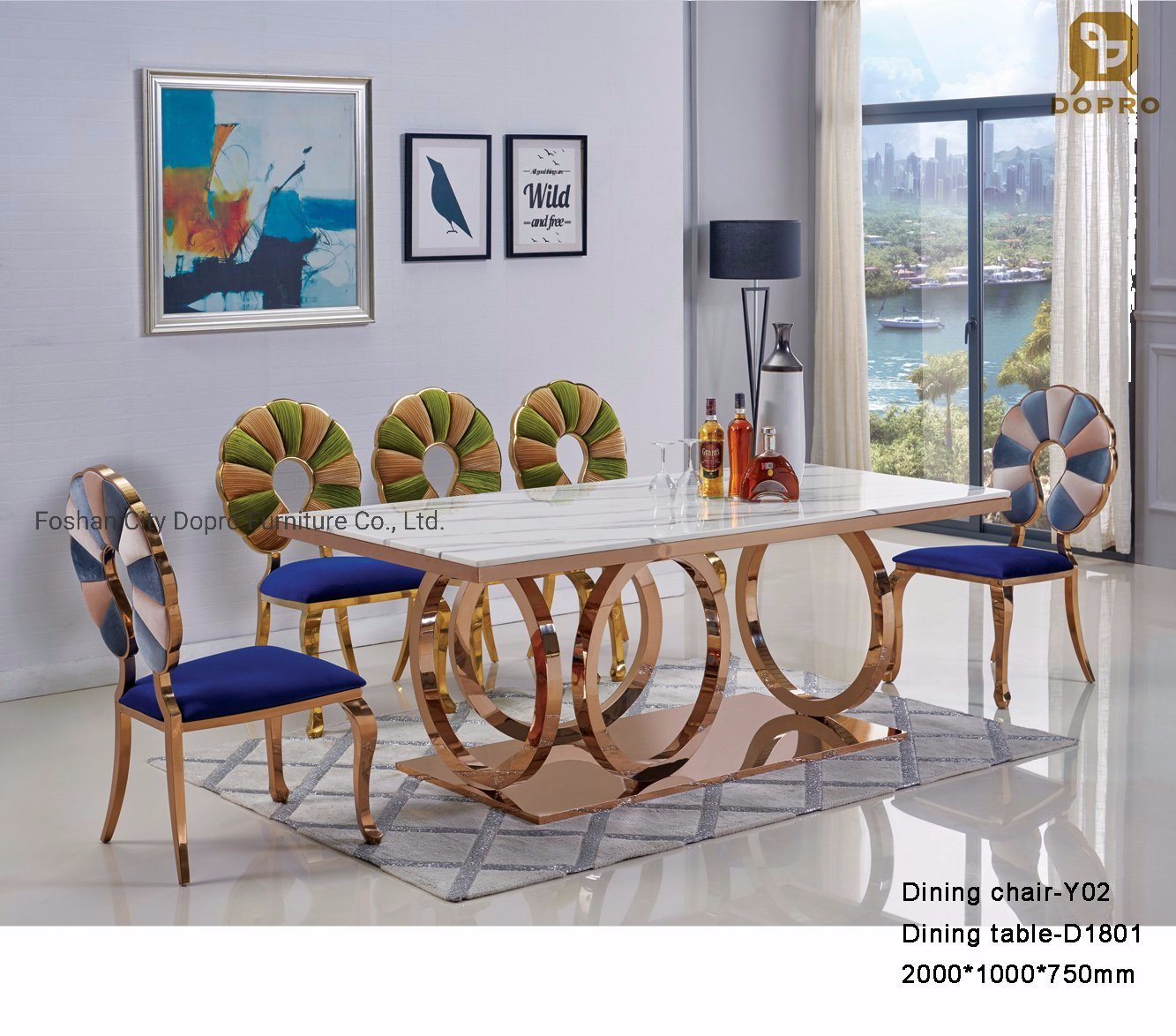 China Luxury Stainless Steel Marble Dining Table Set For Home Furniture China Hotel Furniture Luxury Furniture