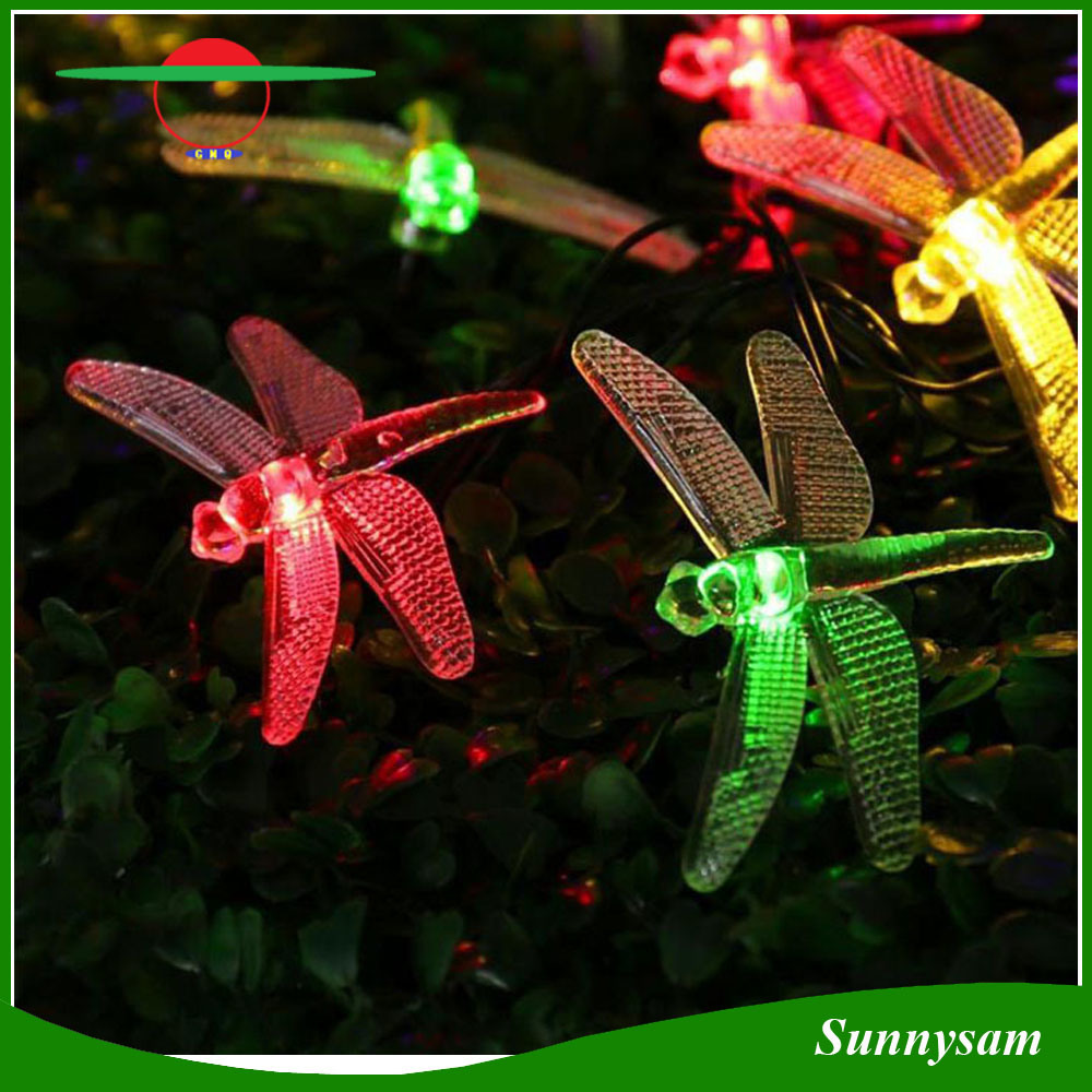 China Colorful Christmas Led Solar Dragonfly String Light Fairy Holliday Outdoor Xmas Party Garden Path Decoration Lights