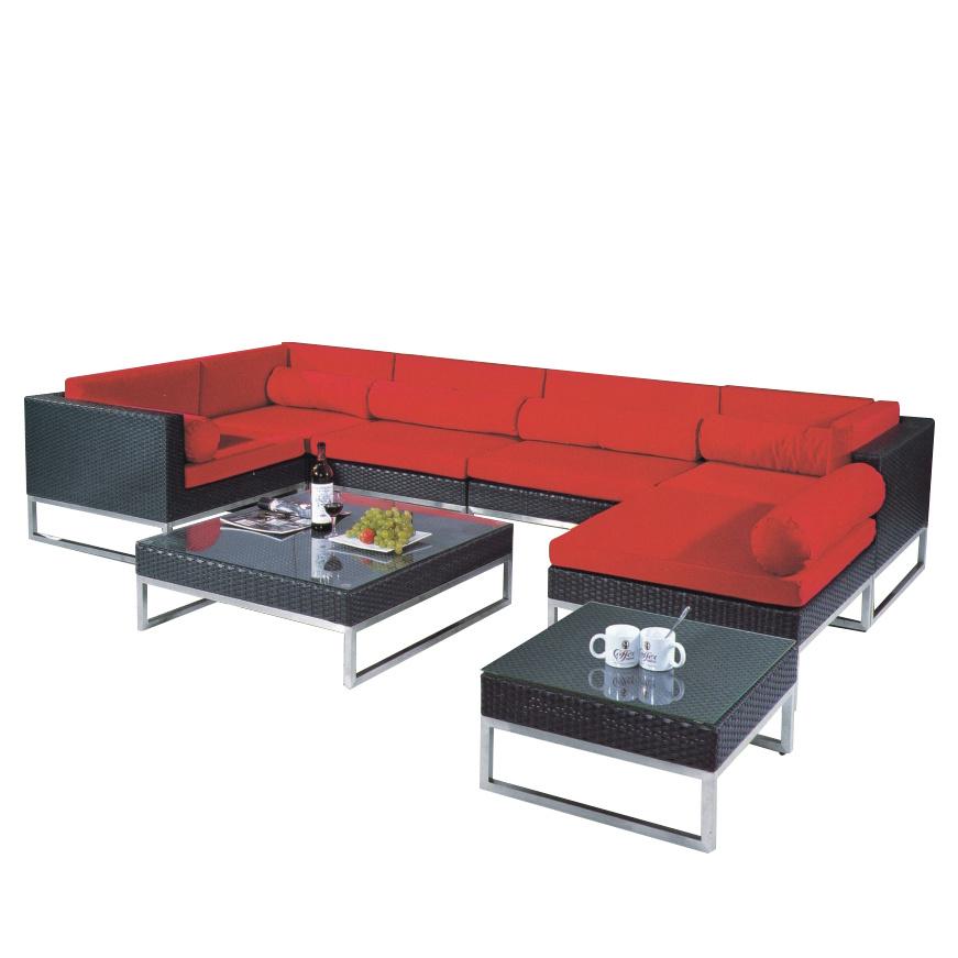 [Hot Item] Outdoor Furniture Garden Swimming Pool Recreational Area Red  Aluminum Corner Sofa