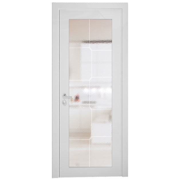 China Oppein White Modern Wood Frame Interior Glass Door