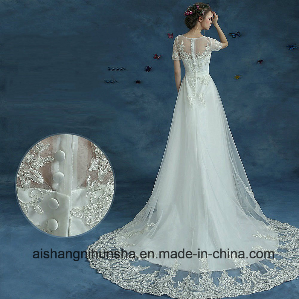 China Vintage Short Sleeves Wedding Dress Formal Beach Marriage ...