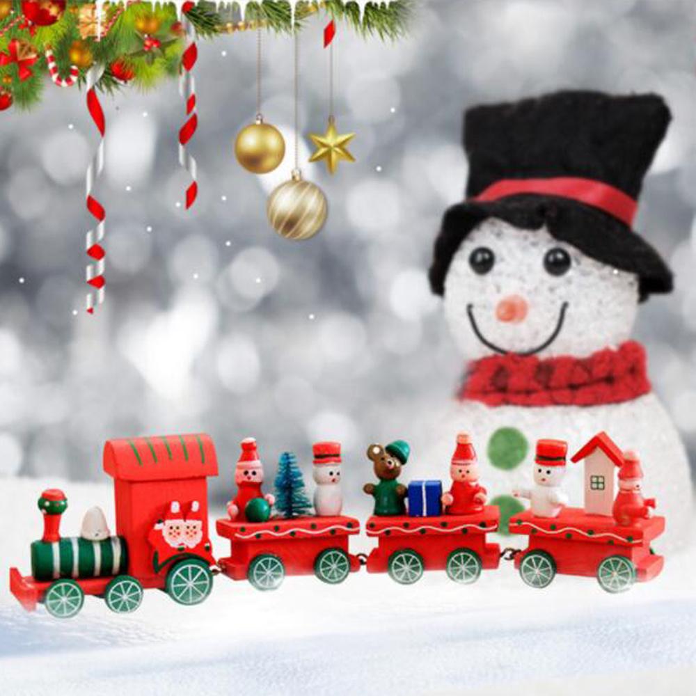 China Wood Christmas Train Toy Xmas Gift Mini Tabletop Decoration ...