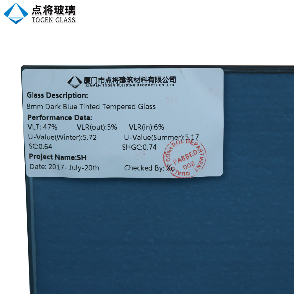 China 3 19mm Ocean Blue Safety Tempered Glass For Door And Window