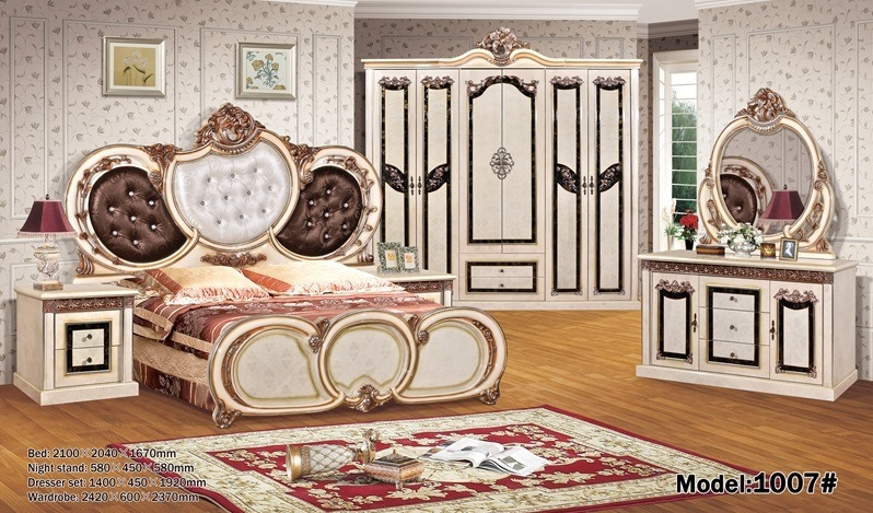 [Hot Item] Antique Paper Bedroom Sets Waterboard Dressing Table Night Stand  Hot Selling to Middle East Africa Single Bed Double Bed 14