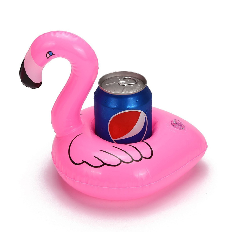 Holiday Party PVC or TPU Inflatable Floating Flamingo Can Holder
