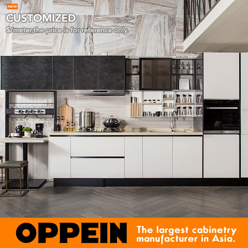 Hot Item Oppein Laminate And Uv Lacquer Straight Line Kitchen Furniture Kitchen Cabinet Plcc17017