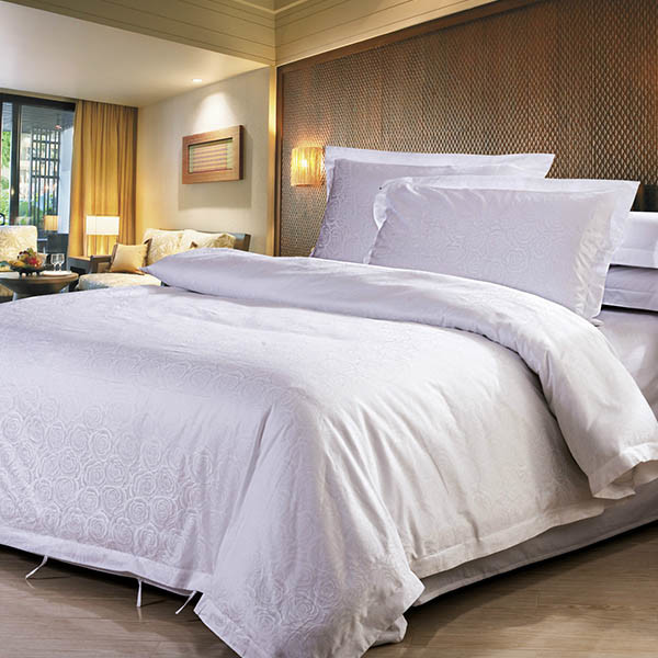 China Wholesale White Cotton Hotel Jacquard Bed Linen Luxury Hotel Bedding    China Hotel Bedding, Hotel Bedding Set