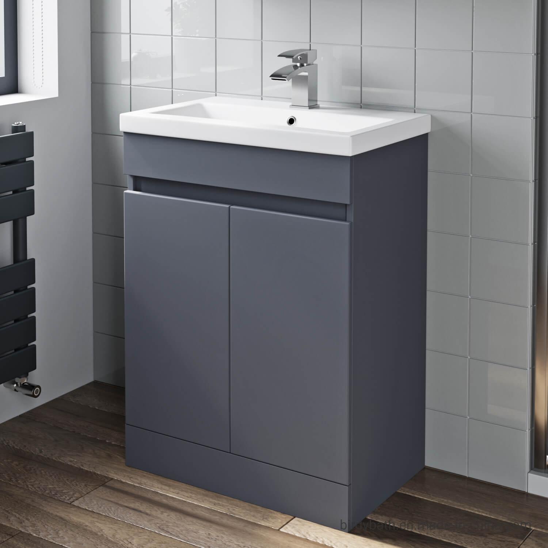 China 600mm Bathroom Vanity Unit Basin 2 Door Storage Cabinet Furniture Grey Gloss China Bathroom Vanity Unit Bathroom Furniture