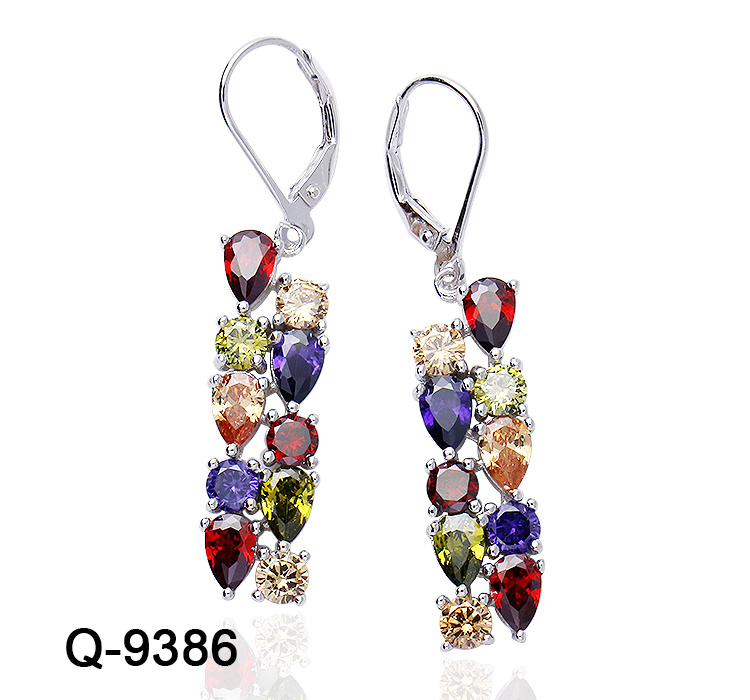 925 Sterling Silver Natural Multi Gemstone Fashion Handmade Stud Jewelry Earring