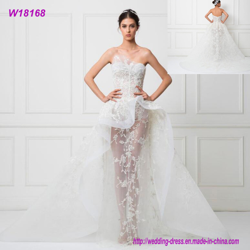 [Hot Item] Women Wedding Dress Bridal Gown Transparent White China Made  Xiamen Wedding Dress