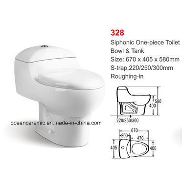 (No. 328) Cheap Siphonic One Piece Ceramic Toilet pictures & photos