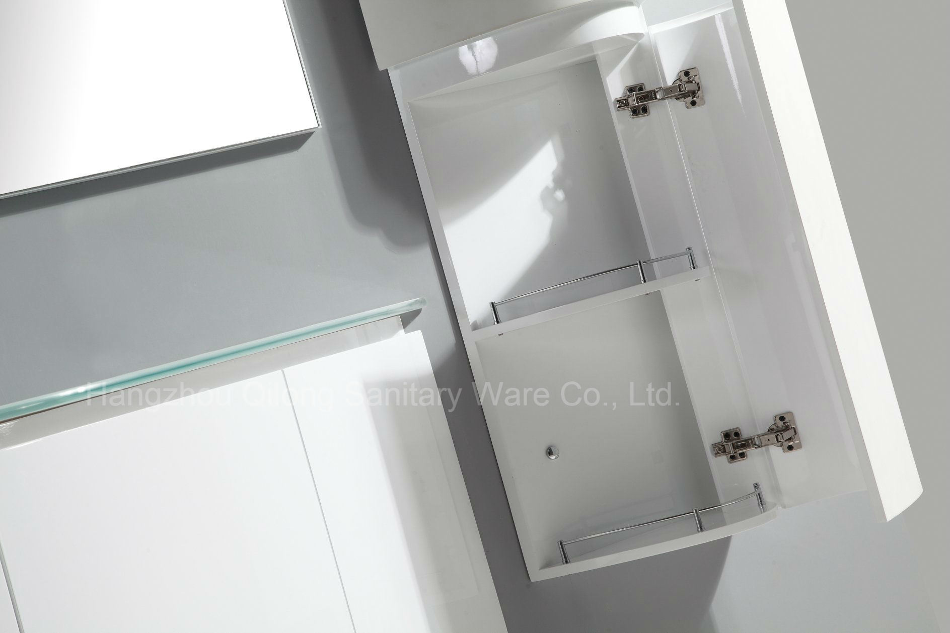 Cruved PVC Two Doors Cabinet in White Painting with Side Cabinet