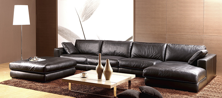 China Black Italian Leather L Shape Sofa With Footrest Gls