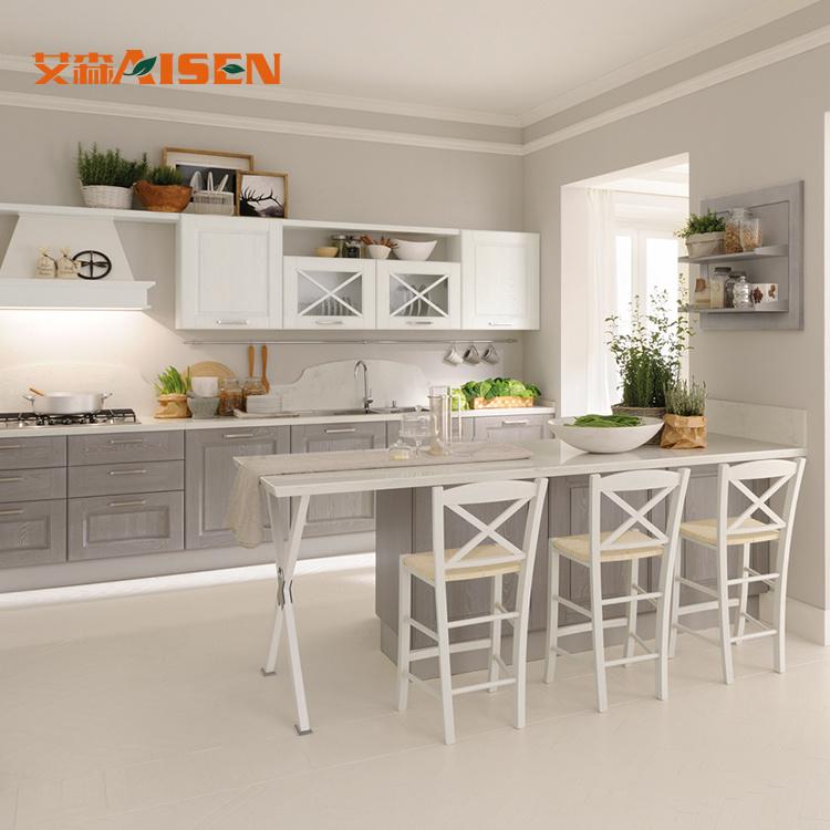 Hot Item Prefab Homes Wooden Almari Image Guangzhou Kitchen Solid Wood Kitchen Cabinets