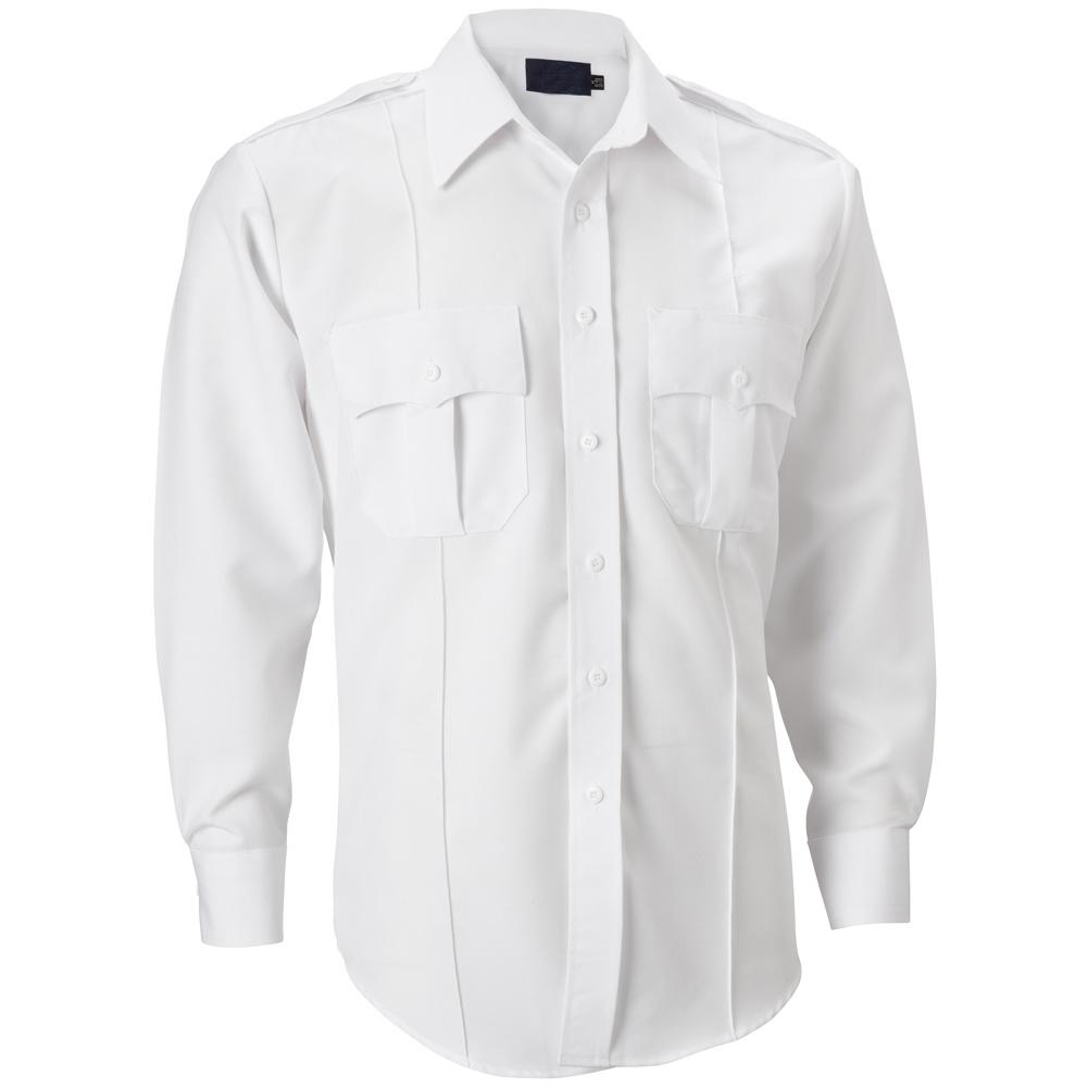 China Mens White Long Sleeve Pilot Police Uniform Dress Shirt