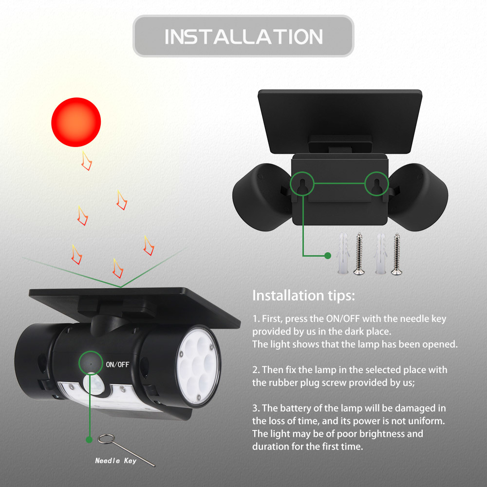 Dual Head Solar Motion Sensor 30led