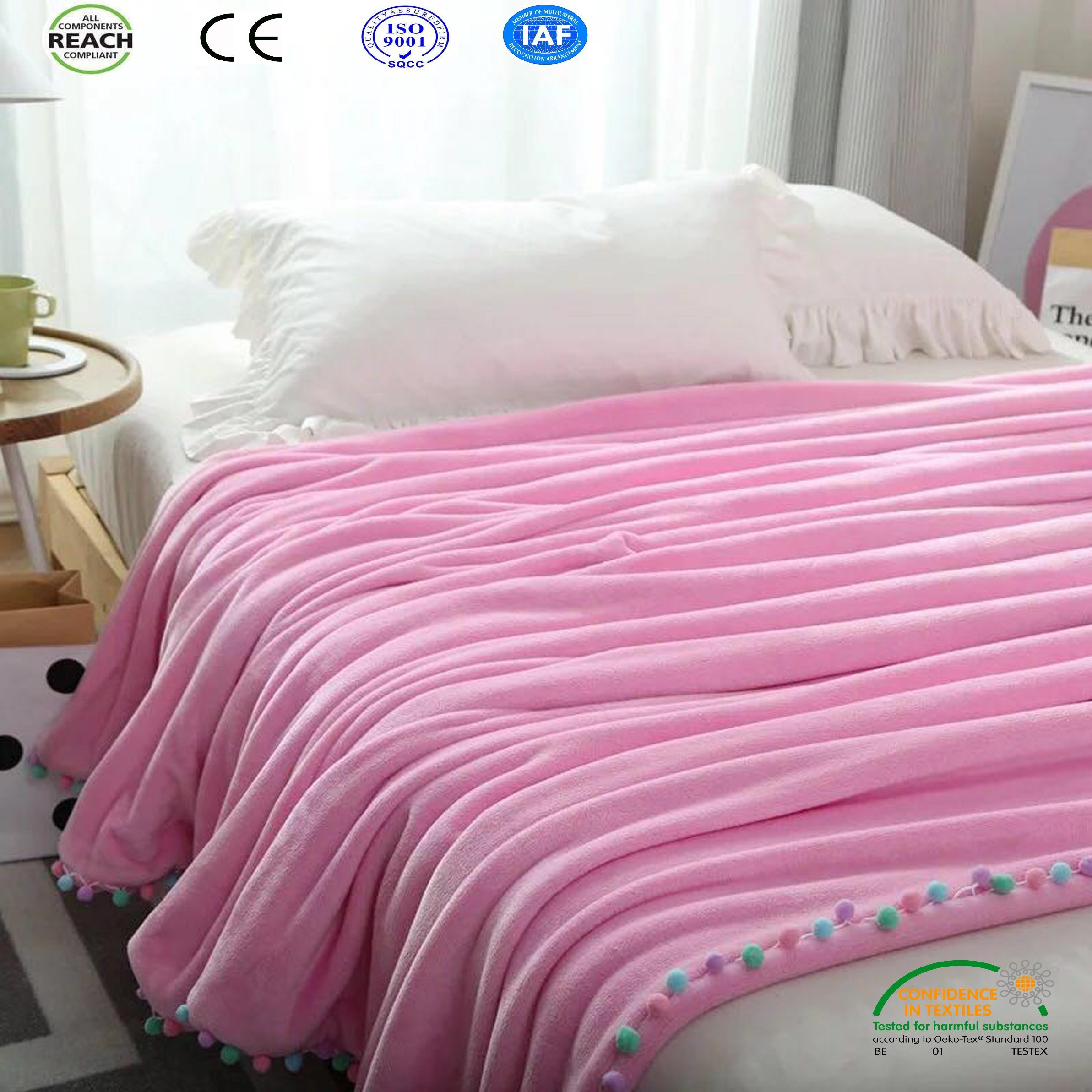 China 2018 Hot Sale Pink Queen Size Blanket On Sofa Bed Plane With