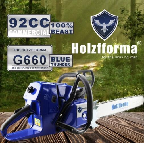 [Hot Item] Farmertec Holzfforma Blue Thunder G660 Gasoline Chainsaw 92cc  Commercial Chain Saw for Stihl 066 Ms660