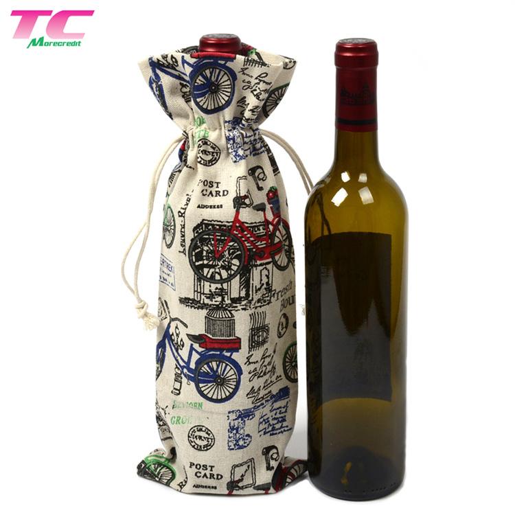 Wine Christmas Packaging.Hot Item Factory Price Full Printed Bottle Packaging Bag Cotton Drawstring Wine Bag For Christmas