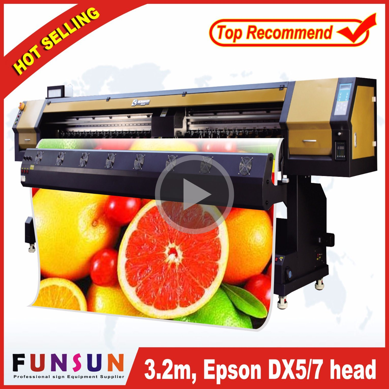 China big discount funsunjet fs 3202g 3 2m 10ft outdoor wide format printer with two dx5 heads 1440dpi for vinyl sticker printing china solvent printer
