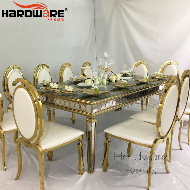 China Factory Direct Sell Gold Stainless Steel Mirror Glass 12 Seater Dining Table China Bar Furniture Event Chairs And Tables