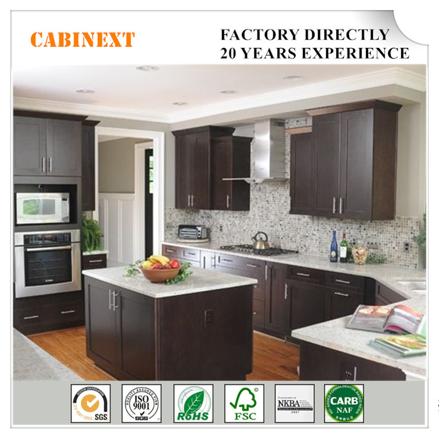Hot Item Shaker Espresso Kitchen Cabinets Solid Wood Factory Directly