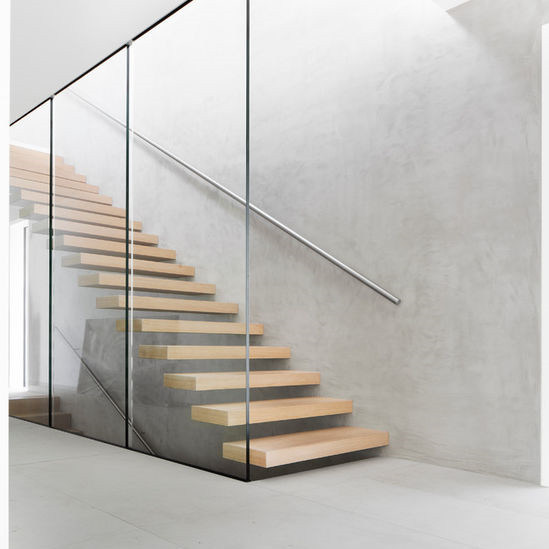 Straight Mild Steel Gl Modern Floating Staircase Prefab Stair Indoor