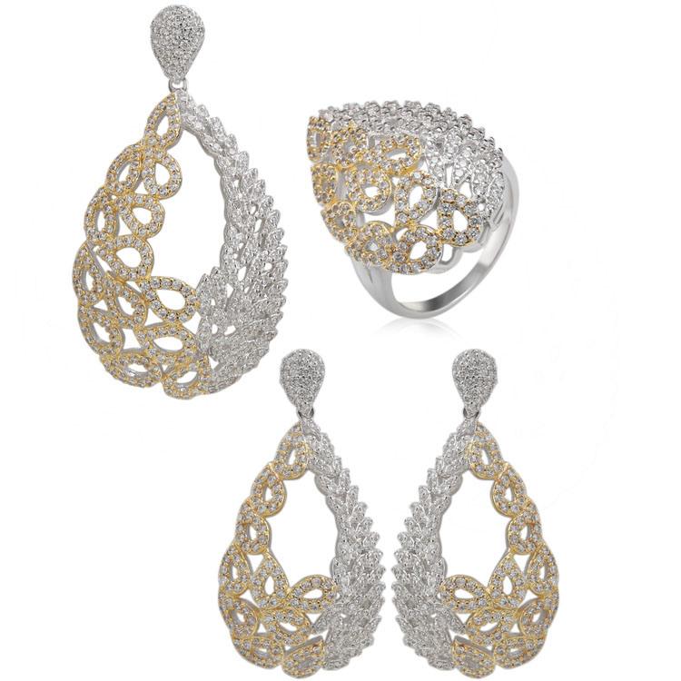 9b6c90b457c [Hot Item] Costume Jewelry High Quality White Gold Plated Zircon Bridal  Jewelry Set