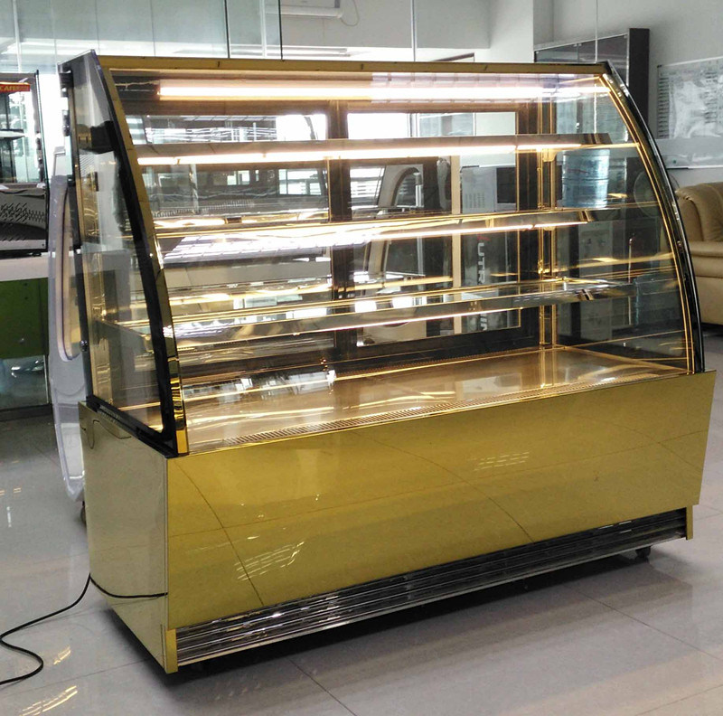 China Elegant Curved Glass Door With 3 Shelf Cake Showcase For Cake