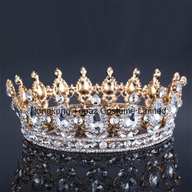 2018 Newest Customized Christmas Party Decoration Crystal Crown Wedding Glass Stonne Golden Rhinestone Tiaras Bridal BC11