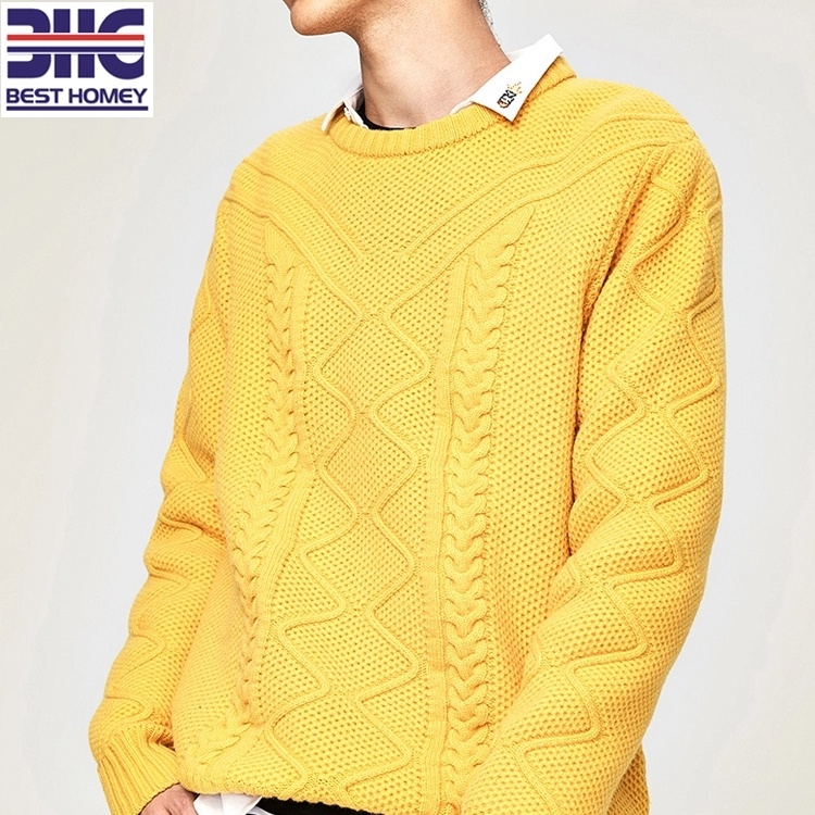 China Mens Piquet Cable Knitted Merino Wool Cashmere Crew Neck Sweater Pullover China Men Sweater And Merino Cashmere Sweater Price