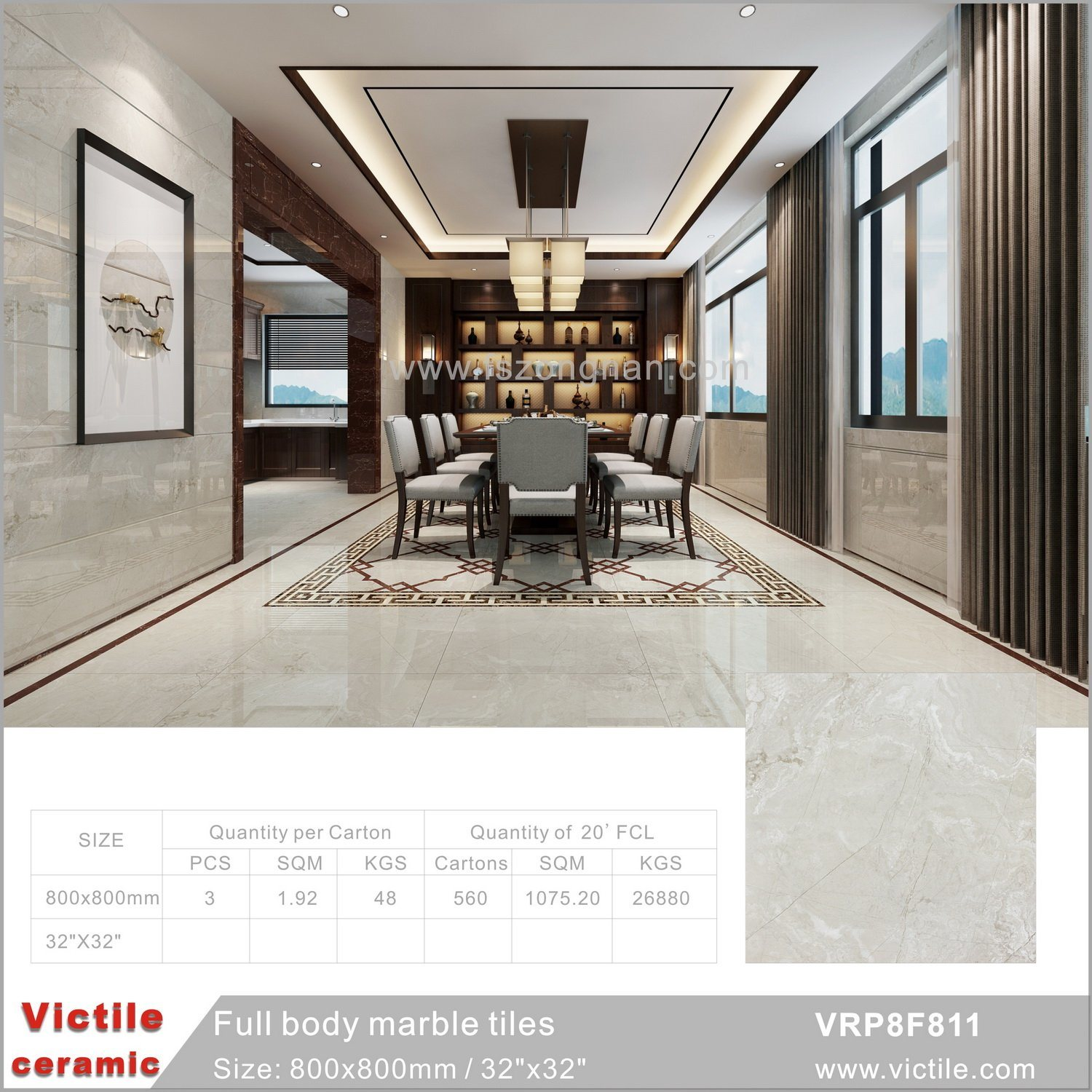 China Gray Fulll Body Marble Porcelain Flooring Floor Tile With Good