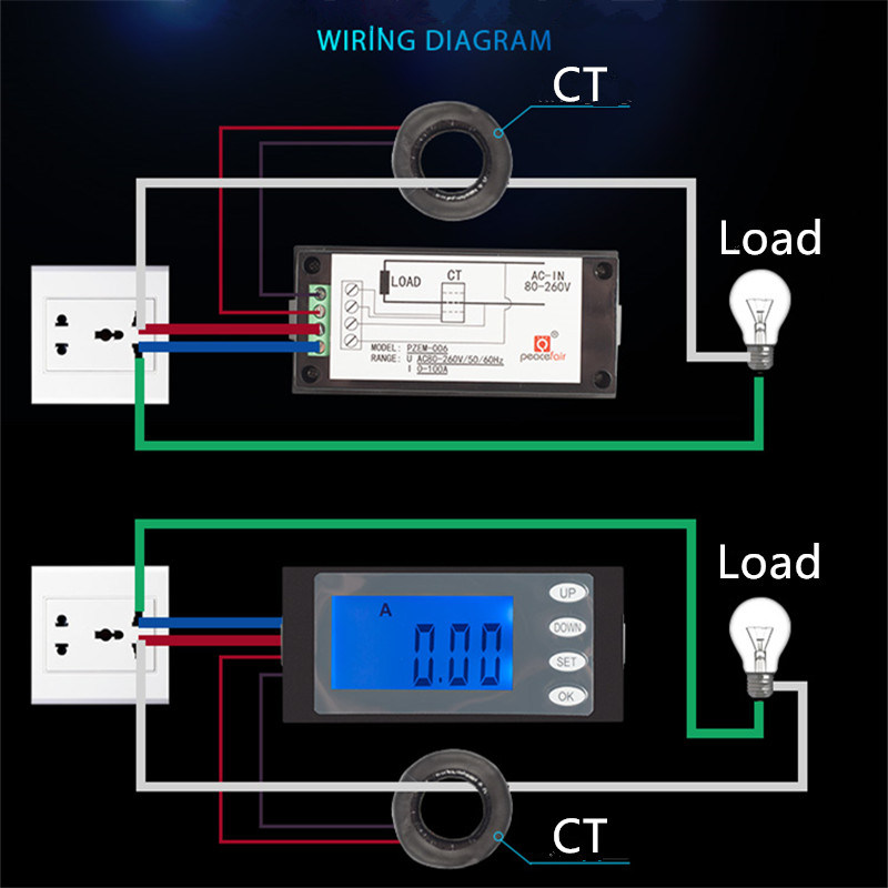 China Pzem 006 Ac 80 260v 100a 5in1 Voltage Current Power Electric