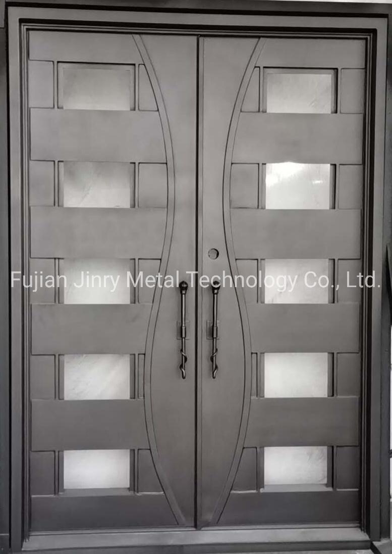 China Security Flat Top Beautiful Modern Custom Iron Entry Front Doors Best Price China Simple Iron Front Door Single Iron Door