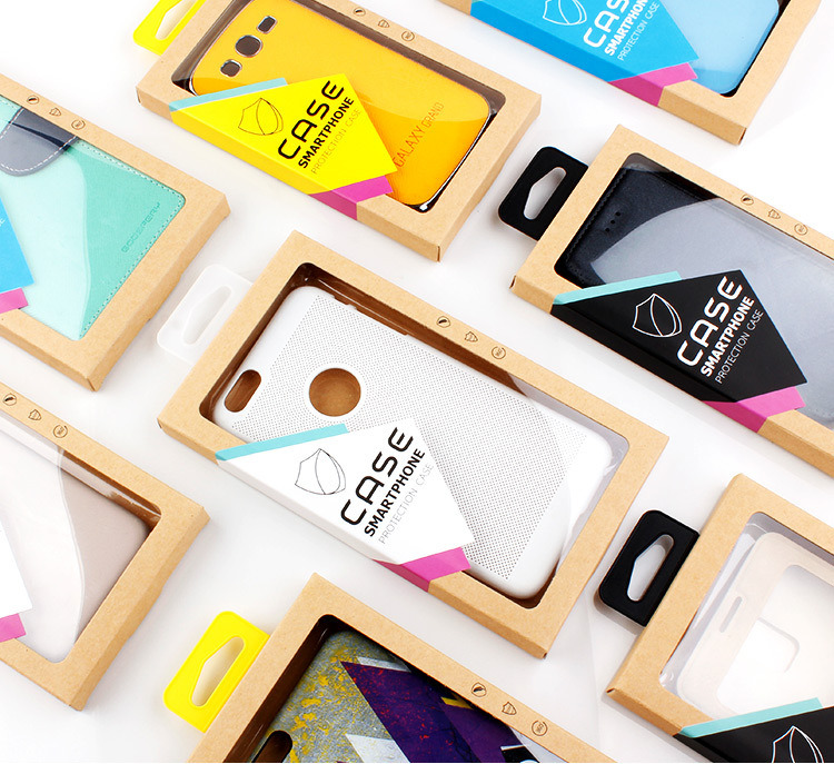 Customized Phone Case Packaging Kraft Paper Box with Clear PVC Window Cellphone Case Retail Package pictures & photos