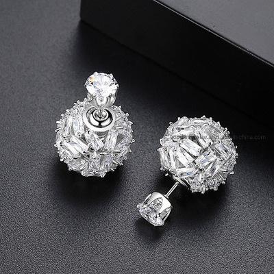 925 Silver Geometric Ear Stud Earrings Cubic Zircon Womens Fashion Jewellery