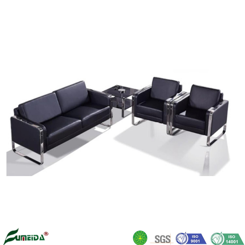 [Hot Item] Office Waiting Room Leisure Modern Metal Feet Black Leather Sofa