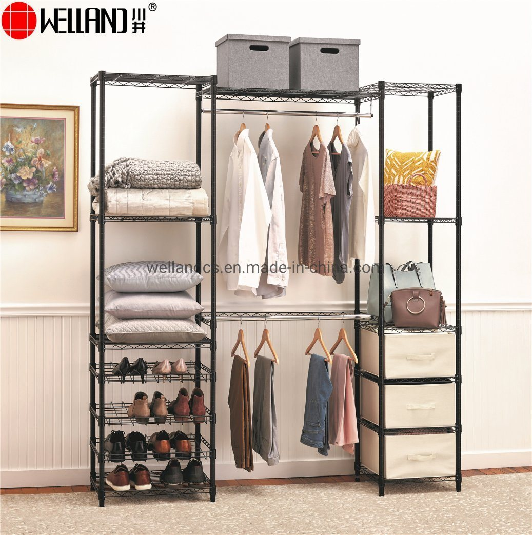 [Hot Item] New Product Multifunction Space Saving Epoxy Coated Bedroom  Furniture Metal Closet Wardrobe Rack with Shoe Storage