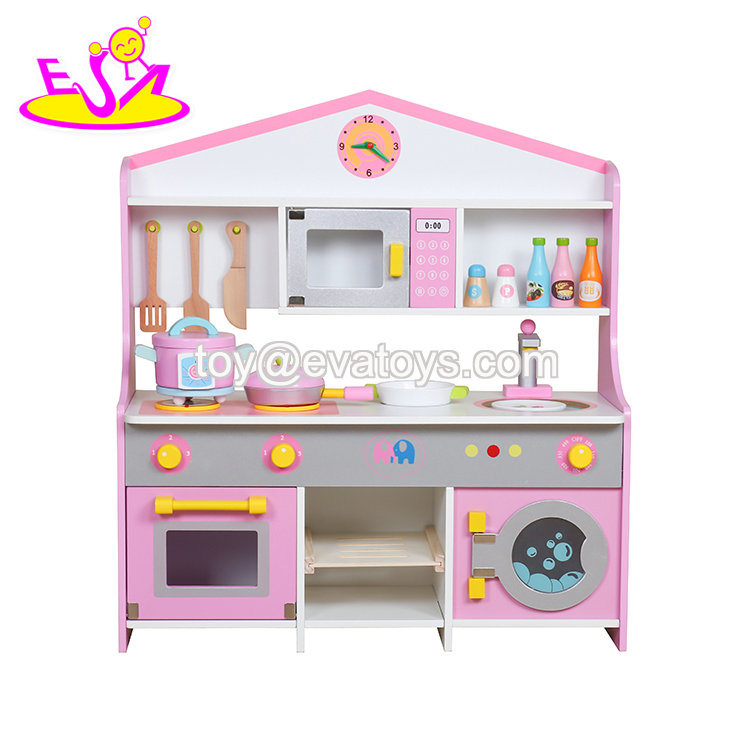 [Hot Item] 2018 New Fashion Pink Wooden Toy Kitchens for Children W10c379