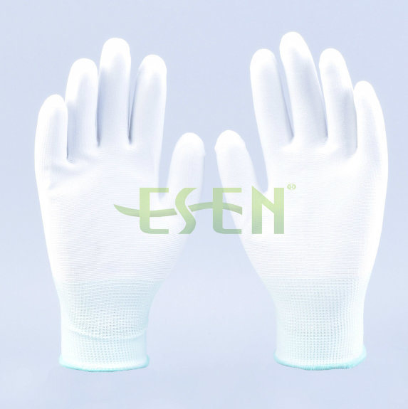Elastic Knitted Glove with White PU Smooth Coating on Palm