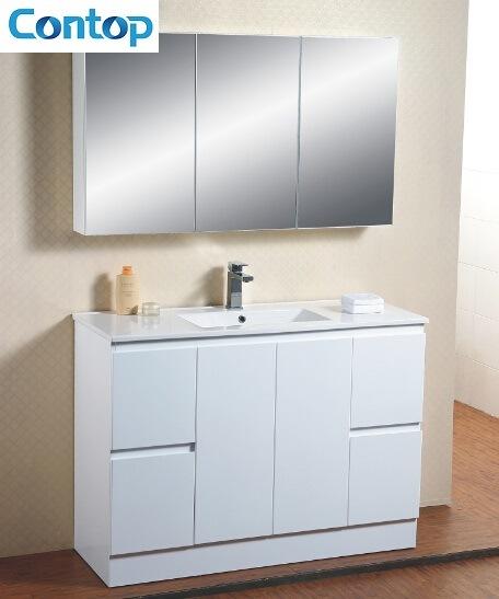 China Long Size Floor Mounted Bathroom Vanity With Mirror Cabinet - Bathroom vanities floor mounted
