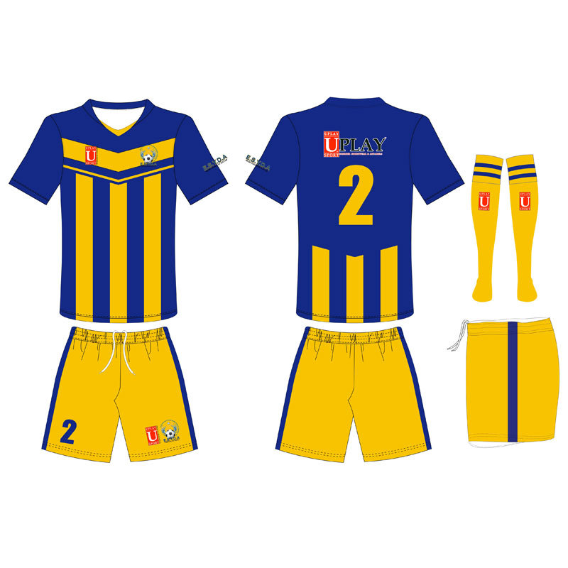 Blue and Yellow Soccer Jersey with Your Own Logos pictures & photos