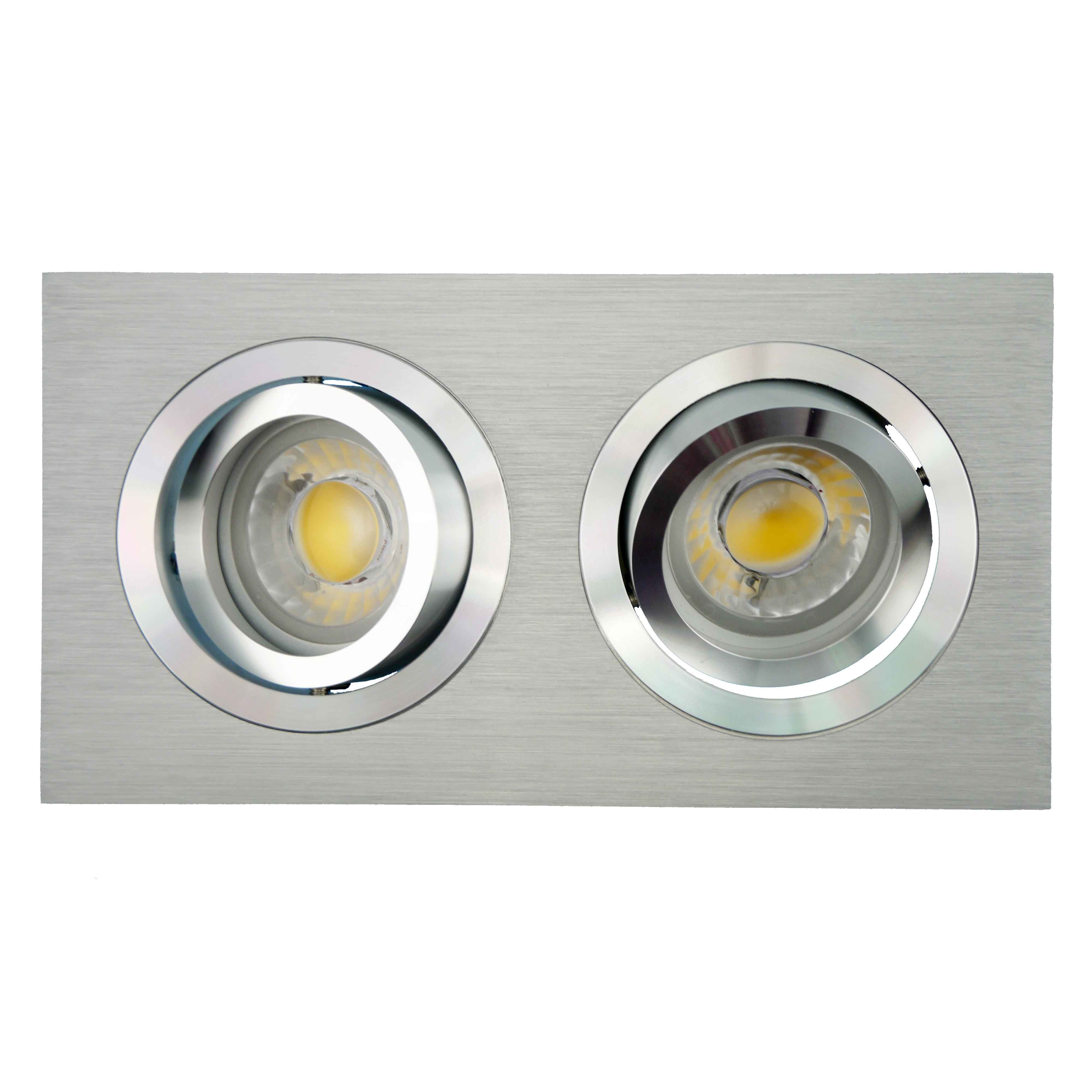 Lathe Aluminum GU10 MR16 Multi-Angle 2 Units Square Tilt Recessed LED Downlight (LT2301-2)