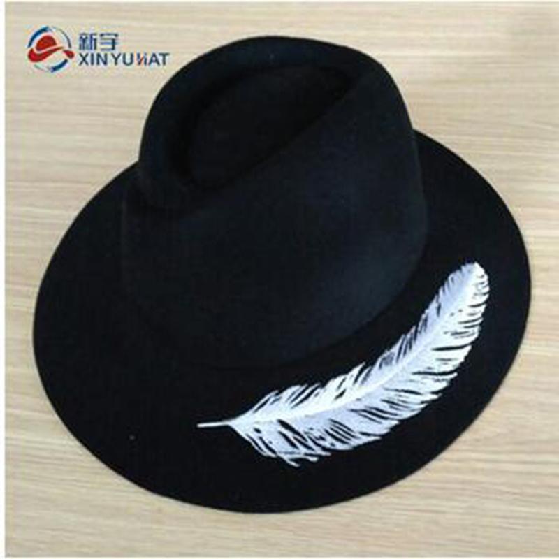 7d7b2e208 [Hot Item] Ew Vintage Wide Brim Wool Felt Women Hat with Embroidery