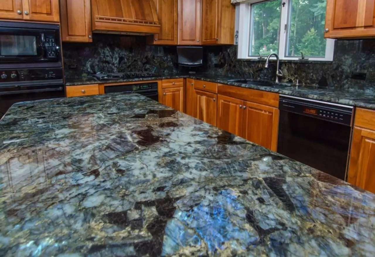 Hot Item Jade Blue Labradorite Whole Prefab Quartz Granite Kitchen Countertop Furniture Cabinet