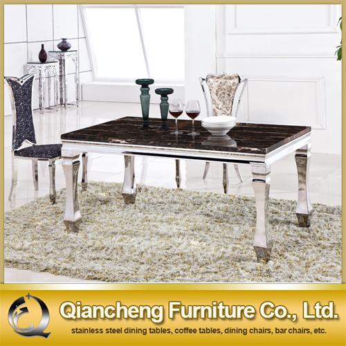 Modern Stainless Steel Frame Marble Top Dining Table